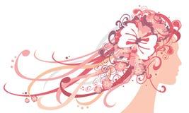 Menina com flores e ornamento no cabelo Ilustração do Vetor
