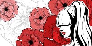 Menina com flores vermelhas Foto de Stock