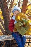 Menina com folhas imagem de stock