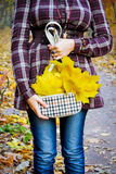 Menina com folhas Foto de Stock
