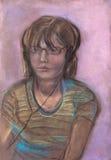 A menina com fones de ouvido Fotografia de Stock
