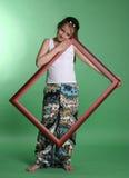Menina com frame imagem de stock royalty free