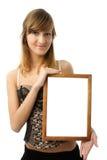 Menina com frame Fotografia de Stock Royalty Free
