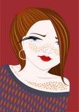 Menina com freckles ilustração stock