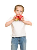 Menina com frutas e legumes no branco Fotos de Stock