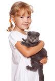 Menina com gato Imagens de Stock Royalty Free