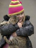 Menina com gato Fotografia de Stock