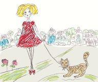 A menina com gato caçoa o desenho Fotos de Stock Royalty Free