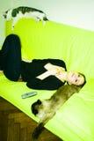 Menina com gatos Imagens de Stock