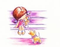 Menina com gelado. ilustração stock