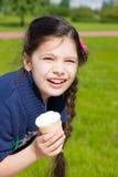 Menina com gelado Imagens de Stock
