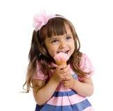 Menina com gelado no estúdio isolado imagem de stock