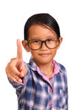 Menina com gesto do número um Imagem de Stock Royalty Free