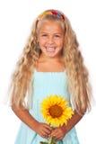 Menina com girassol fotografia de stock royalty free