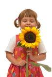 Menina com girassol fotografia de stock