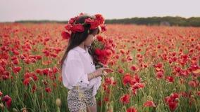 A menina com a grinalda em sua cabeça recolhe flores vermelhas da papoila no campo florescido, movimento lento filme