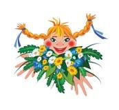 menina com grupo de flores Imagens de Stock