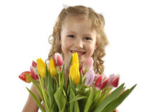 Menina com grupo dos tulips Fotos de Stock