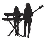 Menina com guitar2 ilustração stock
