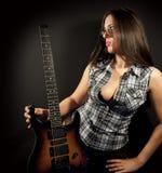 Menina com guitarra Foto de Stock Royalty Free
