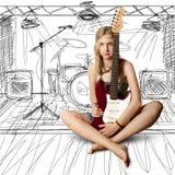 Menina com a guitarra Fotos de Stock
