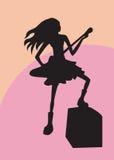 Menina com guitarra Imagens de Stock Royalty Free