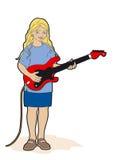 Menina com guitarra vermelha Fotos de Stock