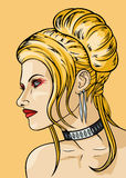 Menina com hairdress no estilo do babetta ilustração do vetor