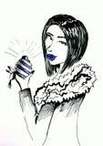 Menina com ilustração glam da tinta do cabelo curto ilustração royalty free