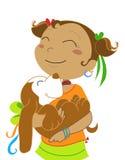 Menina com ilustração cão-vectorial Imagens de Stock Royalty Free