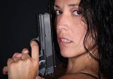 Menina com injetor Imagens de Stock