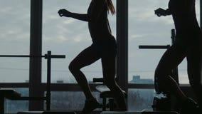 A menina com instrutor faz o exercício da aptidão que usa junto uma etapa no gym do esporte vídeos de arquivo