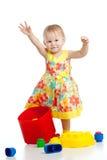 Menina com jogo da construção Foto de Stock Royalty Free