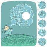 Menina com jogo do Visual das bolhas de sabão Foto de Stock Royalty Free