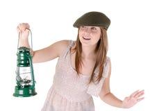 Menina com lanterna Fotos de Stock