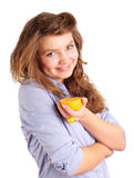 Menina com laranja foto de stock
