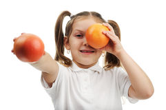 Menina com laranjas Imagem de Stock Royalty Free