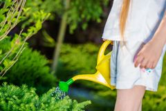 Menina com lata molhando Imagem de Stock Royalty Free