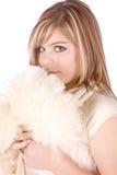 Menina com lenço branco e o formal cor-de-rosa Fotografia de Stock