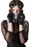 Menina com lenço e óculos de proteção imagens de stock royalty free