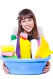 Menina com limpadores Imagens de Stock Royalty Free