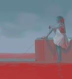 Menina com a linha lida acima do Mar Vermelho Fotos de Stock