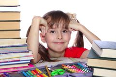 A menina com livros Foto de Stock Royalty Free