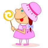 Menina com lollipop ilustração stock