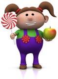 Menina com lollipop e maçã ilustração royalty free