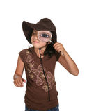 Menina com lupa Imagens de Stock