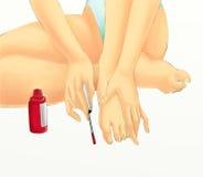 Menina com lustrador de prego vermelho ilustração do vetor