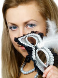 Menina com máscara Foto de Stock Royalty Free