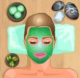 Menina com máscara de hidratação facial ilustração do vetor
