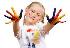 Menina com mãos pintadas Imagem de Stock Royalty Free